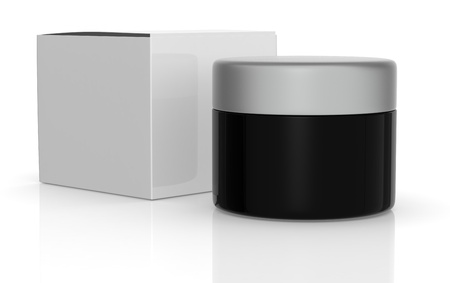 one black jar with a white box (3d render) Stock Photo