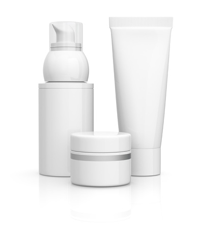 package of cosmetics, all in white (3d render)
