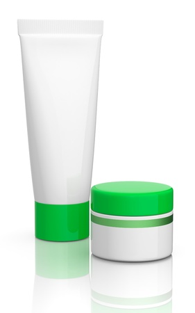 one tube and a jar with green caps (3d render) photo