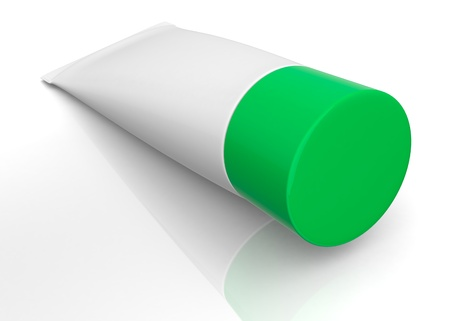 one white tube with a green cap (3d render) photo