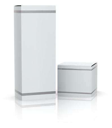 2 つの白いボックスを空のカスタム テキスト用のスペースまたは画像 (3 d のレンダリング)