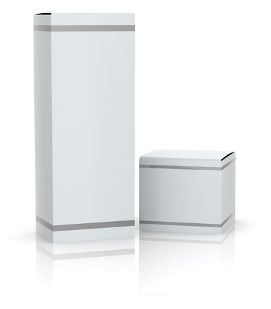 two white boxes with empty space for custom text or image (3d render) Stock Photo
