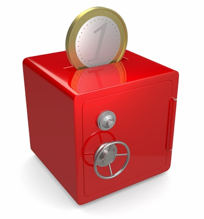 hole in one: one red safe with a hole on top and a coin (3d render)