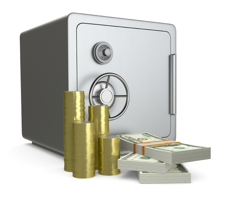 safe deposit box: one safe with piles of coins and banknotes (3d render) Stock Photo