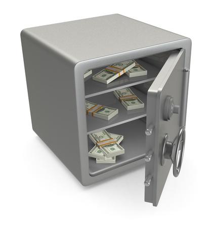 safety box: one open safe with banknotes (3d render)