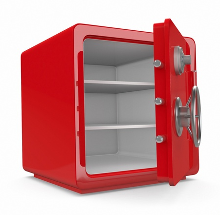 safe deposit box: close up view of an open safe (3d render) Stock Photo