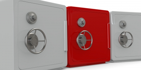 three safes, one in different color (3d render) photo
