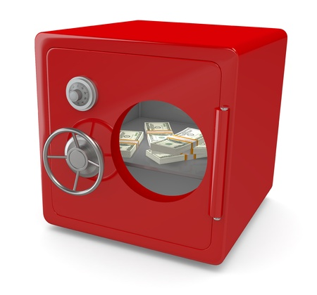 one red safe with a windows and banknotes (3d render) photo