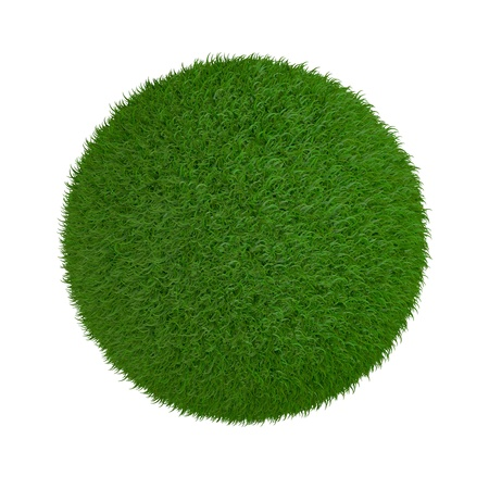 one sphere made of grass on white background (3d render) photo