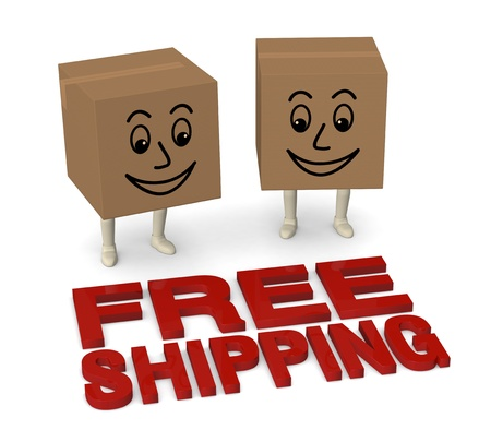 two carton boxes with legs and smiling faces, and text: free shipping (3d render) photo