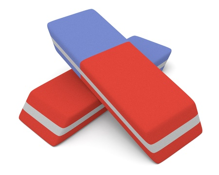 close up view of two erasers (3d render) photo