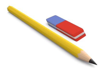 one pencil with an eraser (3d render) photo