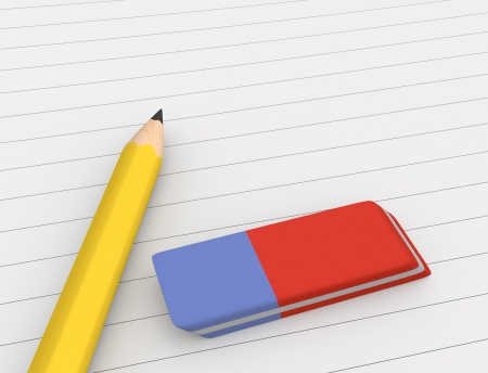 close up view of a pencil and an eraser on a paper sheet (3d render) photo