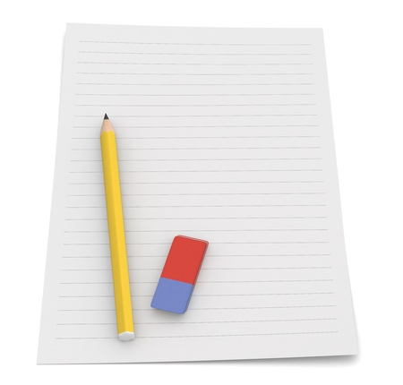 grafito: un lápiz y una goma de borrar en una hoja de papel (3d)