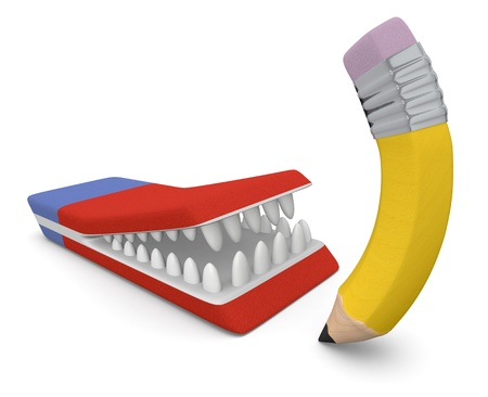 one eraser with mouth and teeth that tries to eat a pencil (3d render) Stock Photo - 20006778