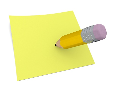 one sheet: one pencil with a paper sheet (3d render)