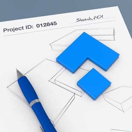 one sheet: one paper sheet with sketchs and a prototype (3d render) Stock Photo