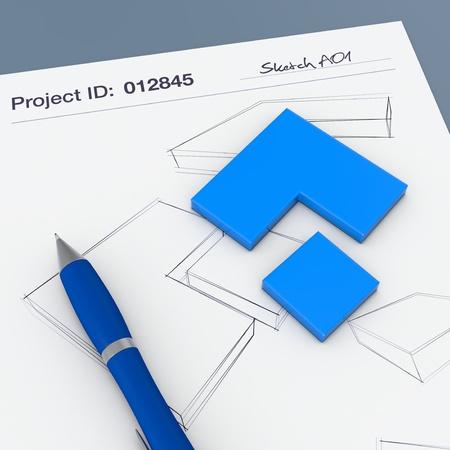 prototipo: una hoja de papel con sketchs y un prototipo (3d)