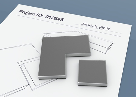 steel construction: one paper sheet with sketchs and a prototype (3d render) Stock Photo