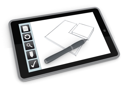 one tablet pc with a drawing app (3d render) photo