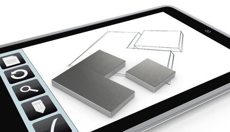 prototipo: un Tablet PC con una aplicación de dibujo y un prototipo (3d)