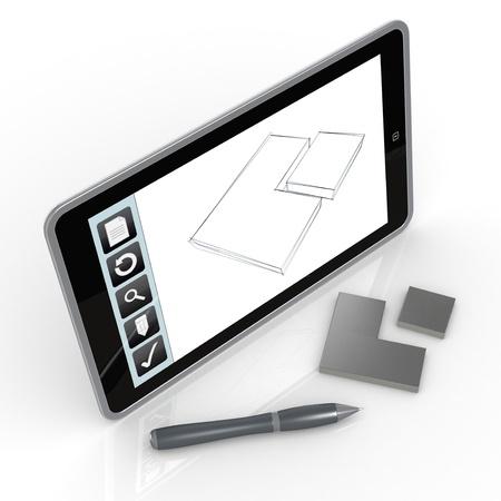 prototipo: un Tablet PC con una aplicaci?n de dibujo y un prototipo (3d) Foto de archivo