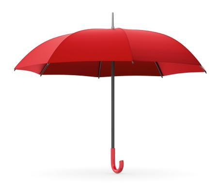 one red umbrella on white background (3d render) photo