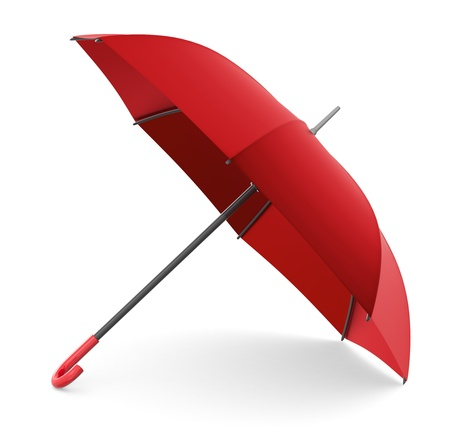 red umbrella: one red umbrella on white background (3d render) Stock Photo