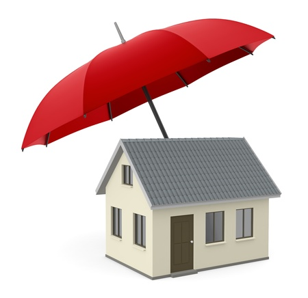 one house under an umbrella, concept of security and protection (3d render) photo