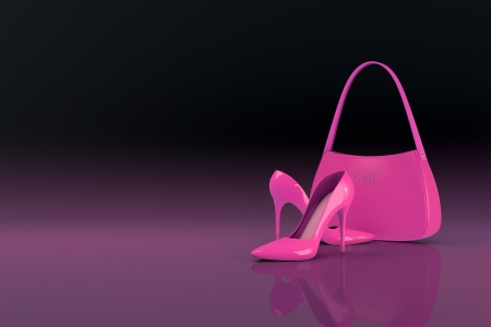 womens shoes and bag on dark background (3d render)