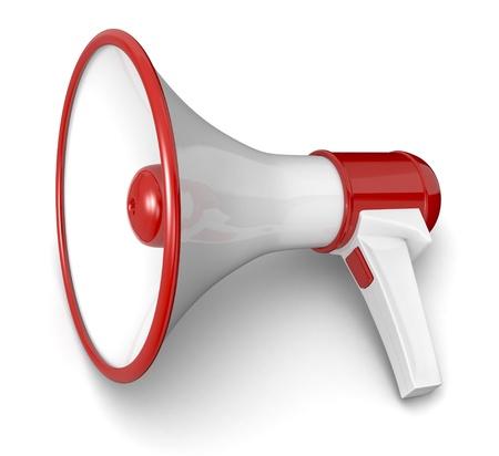 loudhailer: un meg�fono en colores rojo y blanco (3d)