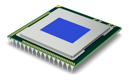 one cpu or gpu for computers and other electronics devices (3d render) photo