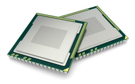chips: two cpu or gpu for computers and other electronics devices (3d render)