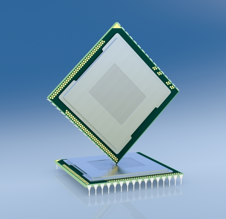 microprocessors: two cpu or gpu for computers and other electronics devices (3d render)