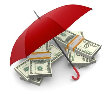 red umbrella: stacks of banknotes under an umbrella, concept of security and protection (3d render) Stock Photo