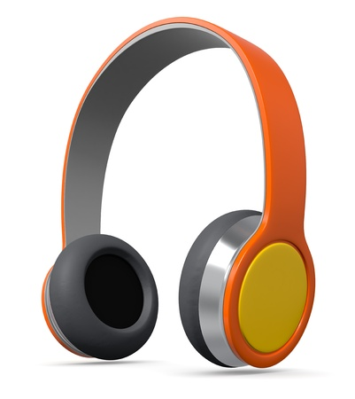 mobile headsets: close up view of colorful headphones (3d render) Stock Photo