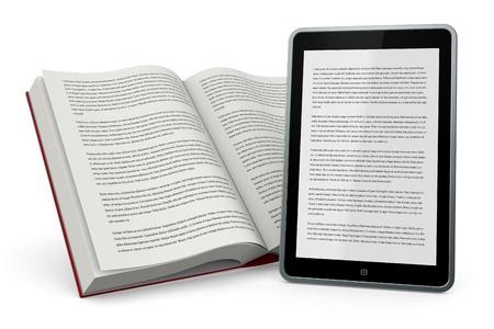 Ein offenes Buch und ein Tablet-PC zeigt den gleichen Text, Konzept der E-Book (3d render) Standard-Bild - 21171428