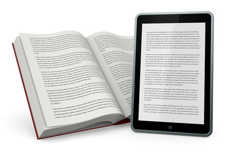 one open book and a tablet pc showing the same text, concept of ebook (3d render) Stock Photo