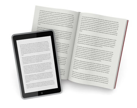 one open book and a tablet pc showing the same text, concept of ebook (3d render) photo