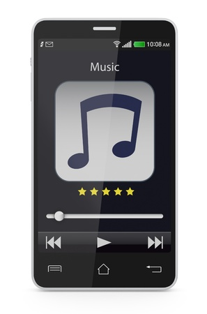 portable mp3 player: one smartphone with a music player application (3d render)