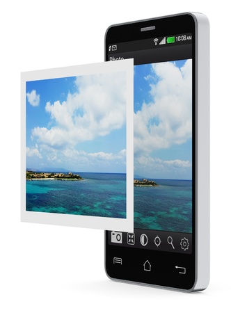 image editing: one smartphone with a software of photo editing and a printed photo (3d render) (photo taken by me)