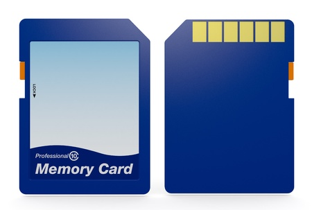 front and back view of a sd card (3d render) photo
