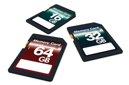 capacity: three memory cards of different storage capacity (3d render) Stock Photo