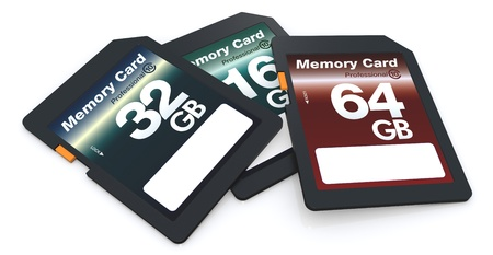 three memory cards of different storage capacity (3d render) photo