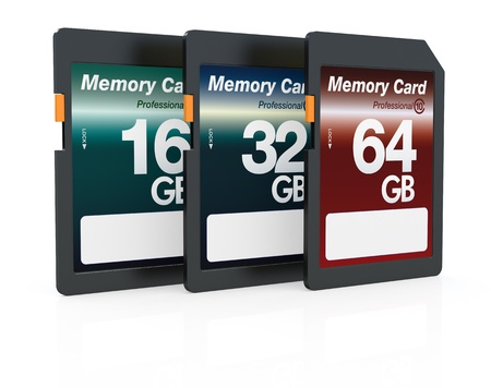 three memory cards of different storage capacity (3d render) Stock Photo