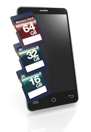capacity: one smartphone with three memory cards with different storage capacity (3d render)