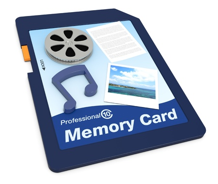 one memory card with movie, music, text and photo symbols (3d render) photo