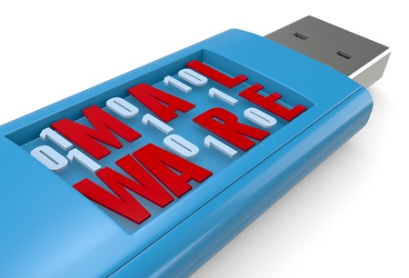 malicious software: one usb key carrying malicious software (3d render) Stock Photo