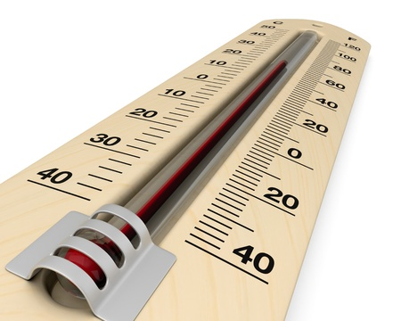 close up view of an analog thermometer with scale on celsius and fahrenheit (3d render) photo