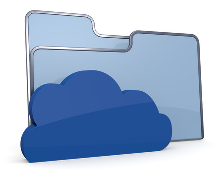 one computer folder icon with a cloud, concept of network data  3d render  photo